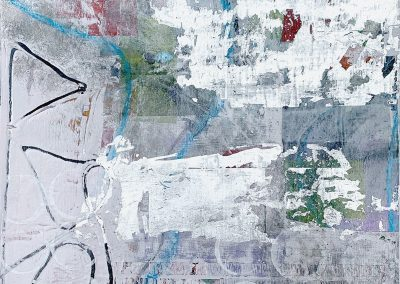 """Abstract101 Acrylic Mixed Media on paper. 9"""" x 9"""". Matted and framed in gray"""