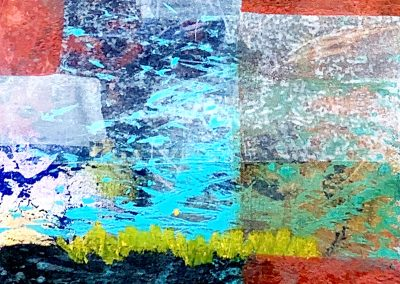 """Abstract106 Mixed media collage + acrylic on 300 lb watercolor paper. 8"""" x8"""" Matted and framed in black"""