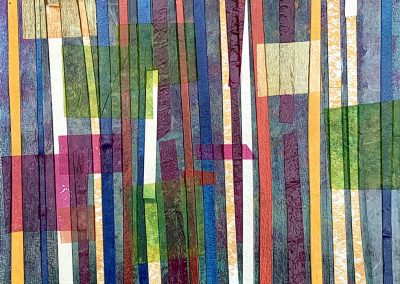 """Grove Mixed media collage + acrylic on 300 lb watercolor paper. 9"""" x12"""" Matted and framed in gold"""