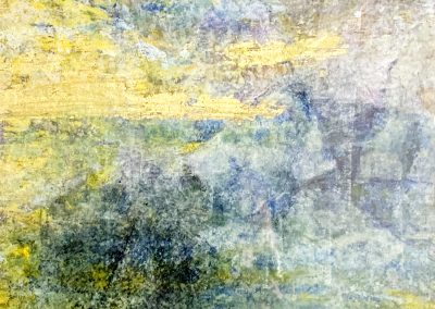 """Landscape 1 Acrylic Mixed Media on paper. 9"""" x 12"""". Matted and framed in gold"""