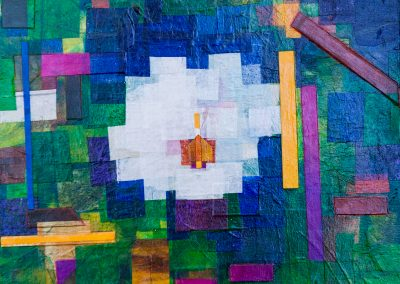 """Magnolia Blossom Mixed media collage + acrylic on wood panel. 12"""" x 12"""". Framed in gold"""