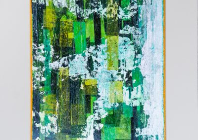 """Moss Mixed media collage + acrylic on 300 lb watercolor paper. 9"""" x12"""" Matted and framed in gold"""