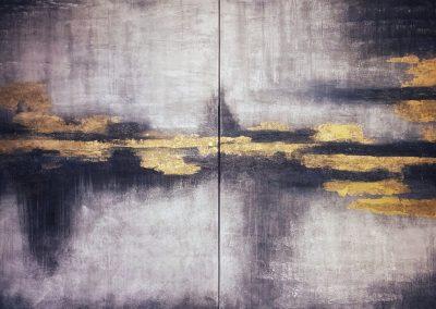 "Abstract 2 Acryllic Mixed Media on canvas 48""x60"" each (96""x60"")"