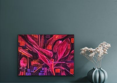 "Pink Magnolia Acryllic Mixed Media on canvas 11""x14"""