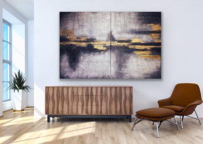 "Abstract 2 Acryllic Mixed Media on canvas 48""x60"" each (96""x60"") version 2"